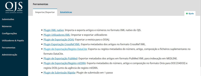 Plugin de Registo/Exportação DataCite